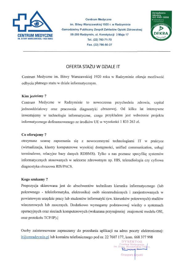 Praca Dla Absolwenta Zespół Szkół Im Prezydenta Ignacego